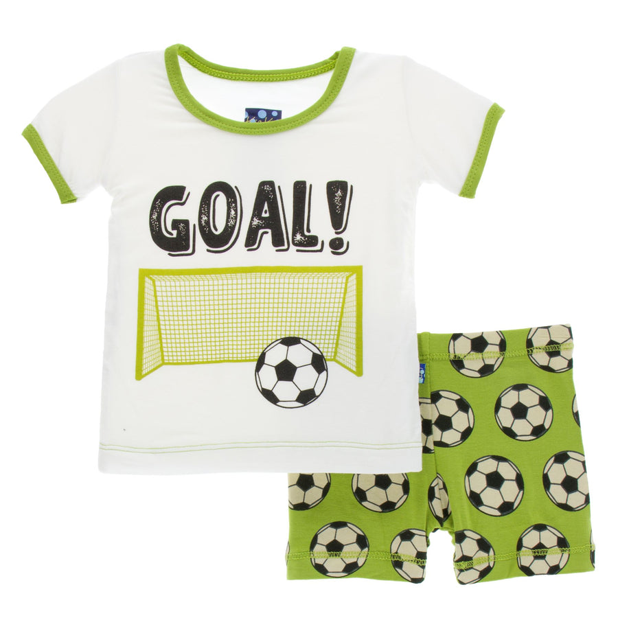 Bamboo Short Pajama Set in meadow soccer