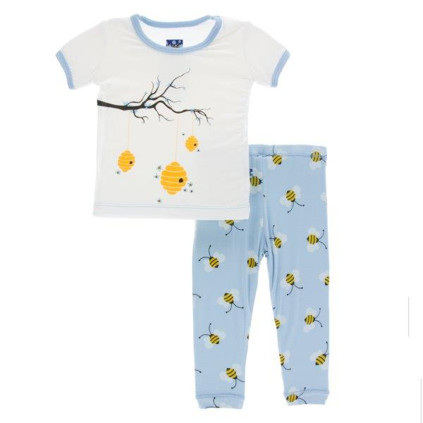 Bamboo Pajama Set in Pond Bees