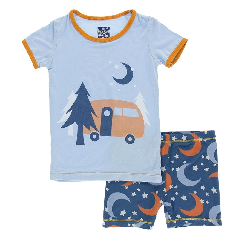 Bamboo Short Pajama Set in Pond Camper