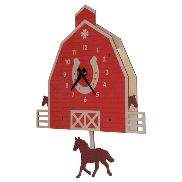 Horse Barn Pendulum Clock - Pink and Brown Boutique