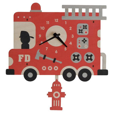 Fire Truck Pendulum Clock - Pink and Brown Boutique