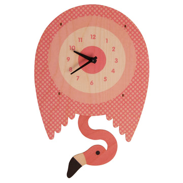 Flamingo Pendulum Clock - Pink and Brown Boutique