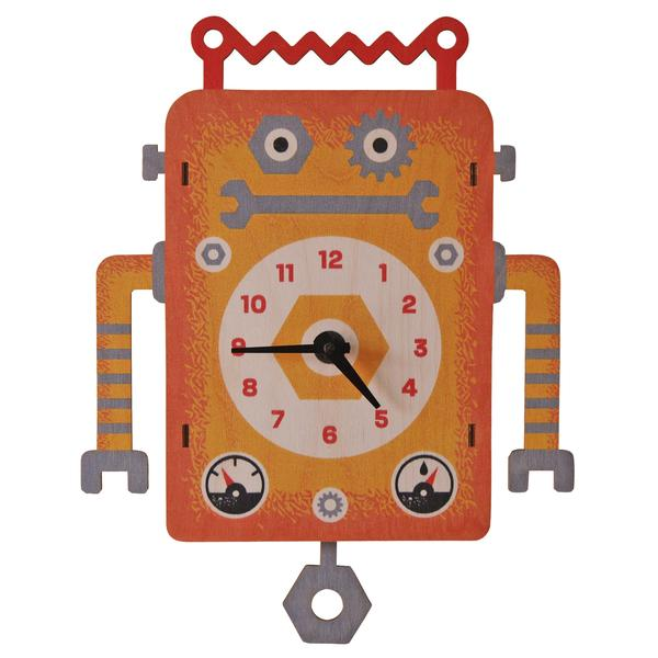 Robot Pendulum Clock - Pink and Brown Boutique