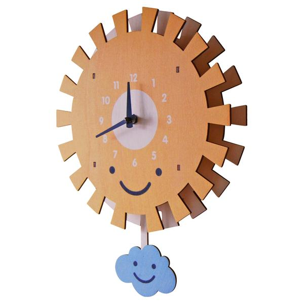 Sun and Cloud Pendulum Clock - Pink and Brown Boutique