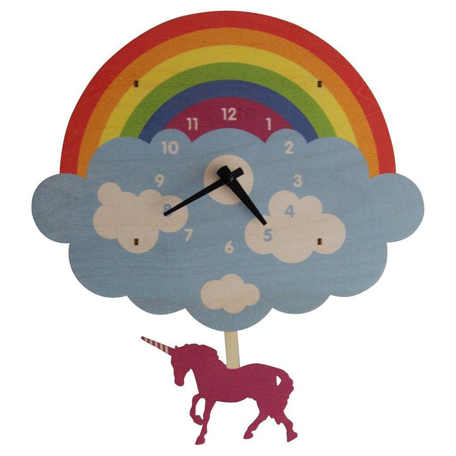 Unicorn Pendulum Clock - Pink and Brown Boutique