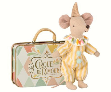 Clown mouse in a tin case