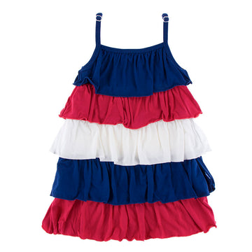 Bamboo Ruffle Dress in Flag Red