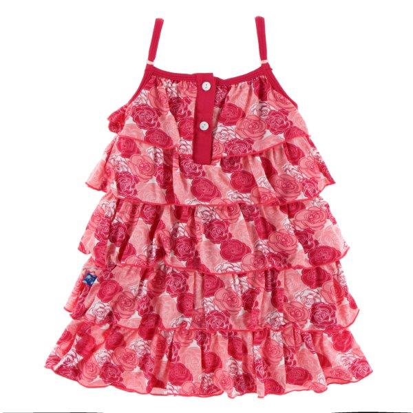 Bamboo Ruffle Dress in Roses