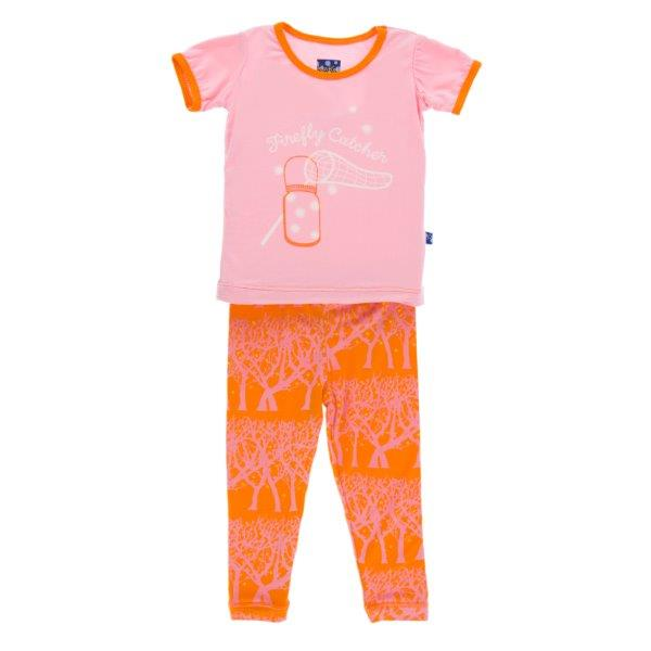 Bamboo Pajama Set in Fireflies - Pink and Brown Boutique