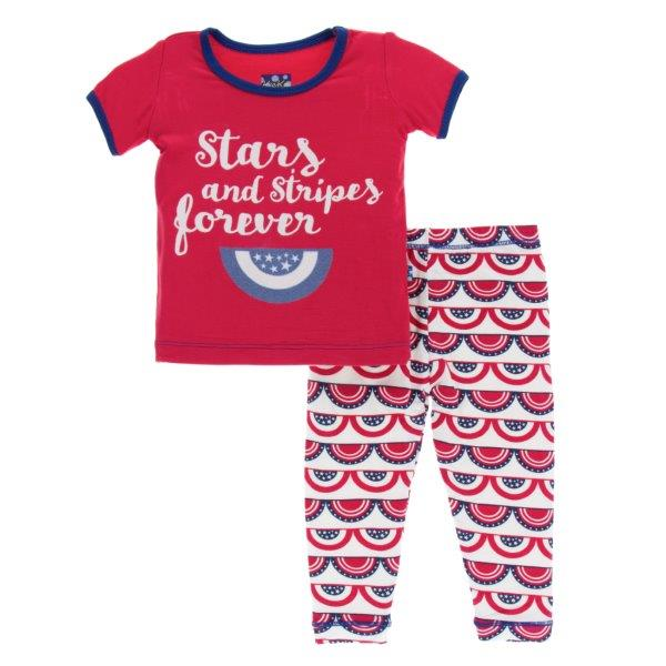 Bamboo Pajama Set in Flag Swag - Pink and Brown Boutique