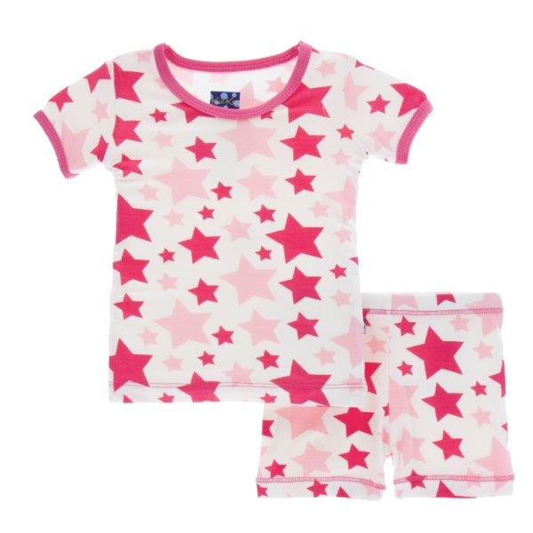 Bamboo Short Pajamas in Flamingo Stars - Pink and Brown Boutique