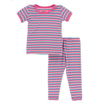Bamboo Pajama Set in Flamingo Stripe - Pink and Brown Boutique