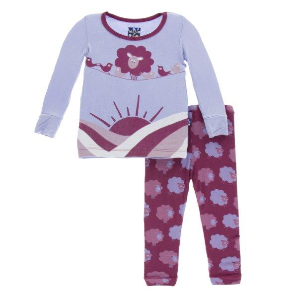 Bamboo Pajama Set in Grape Sheep - Pink and Brown Boutique