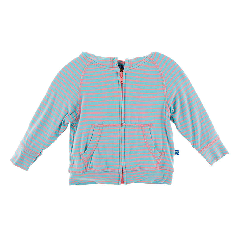 Zip Front Hoodie in Strawberry Stripe - Pink and Brown Boutique