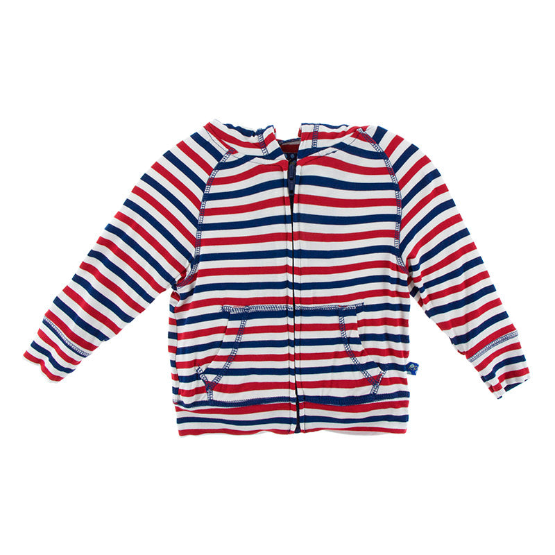 Zip Front Hoodie in USA Stripe - Pink and Brown Boutique