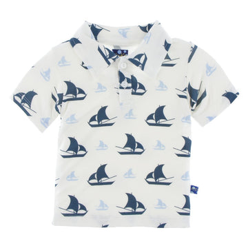 Print Polo in Natural Sailboat