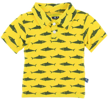 Print Polo in Lemon Shark