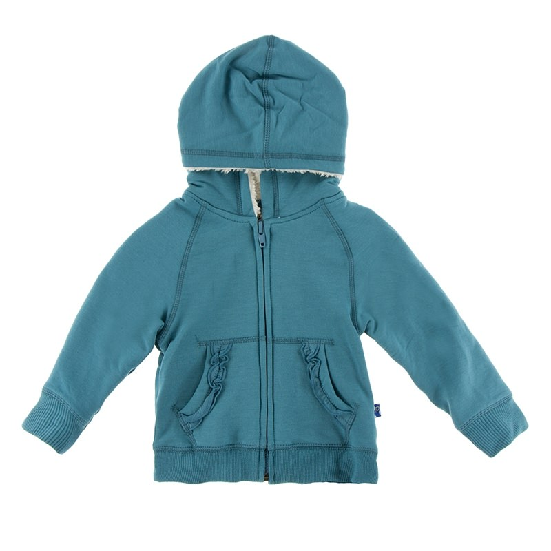 Ruffle Zip Front Hoodie with Sherpa-Lined Hood in Seagrass