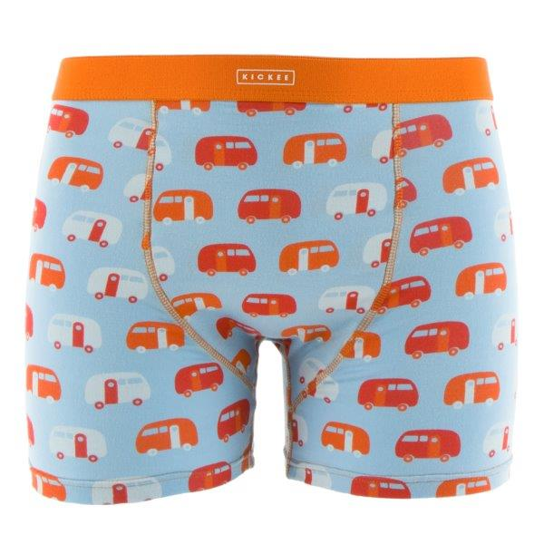 Bamboo Men Boxer Brief in Pond Camper - Pink and Brown Boutique