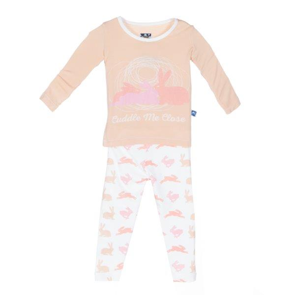 Bamboo Pajama Set in Blush Bunny