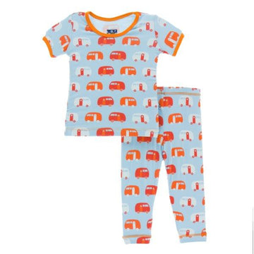 Bamboo Pajama Set in Pond Camper - Pink and Brown Boutique