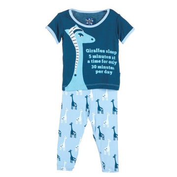 Bamboo Pajama Set in Blue Giraffe