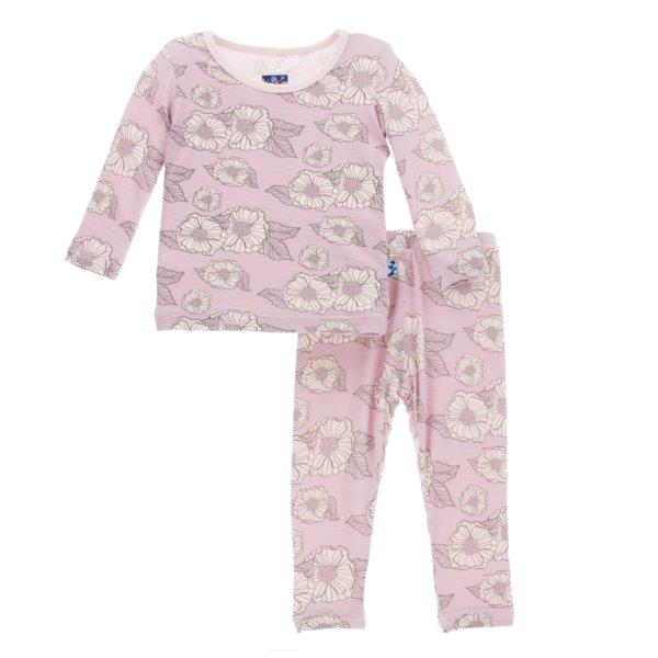 Bamboo Pajama Set in Sweet Pea Poppies - Pink and Brown Boutique