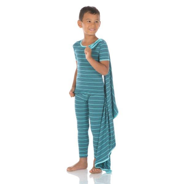 Bamboo Pajama Set in Shining Sea Stripe - Pink and Brown Boutique