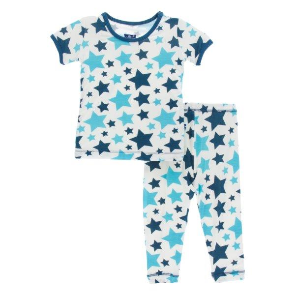 Bamboo Pajama Set in Confetti Stars - Pink and Brown Boutique