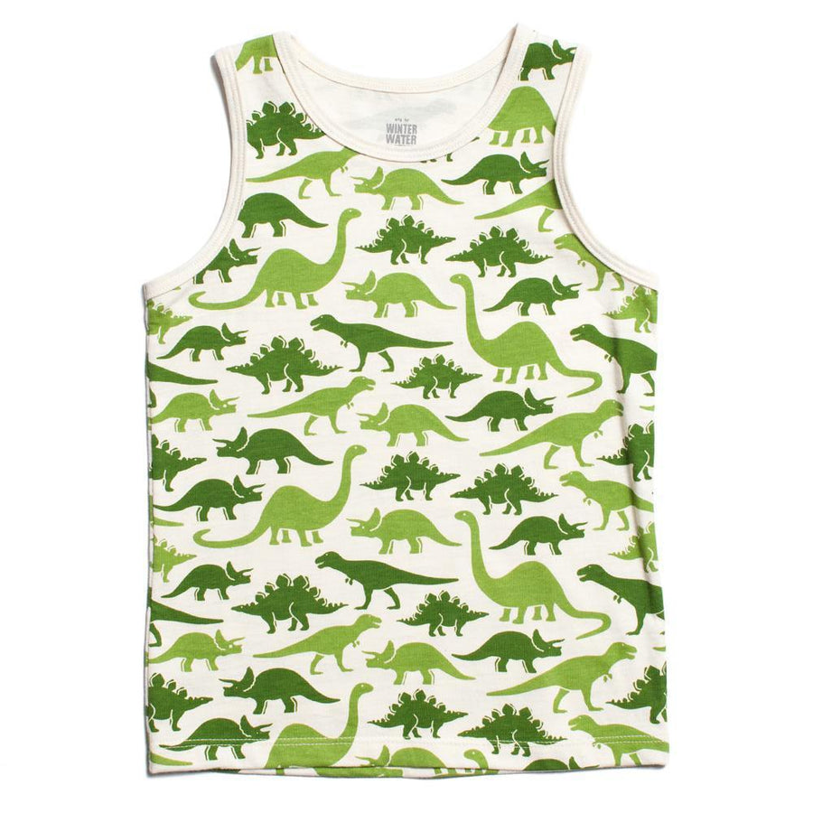 Organic Tank in Green Dinosaurs - Pink and Brown Boutique