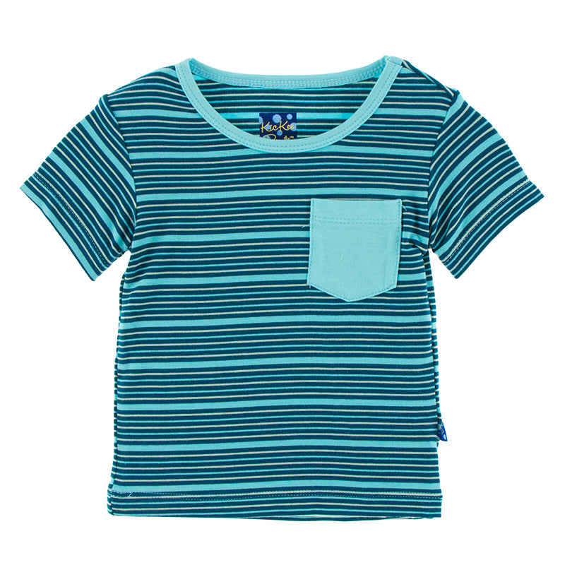 Short Sleeve Tee with Pocket in Sea Stripe