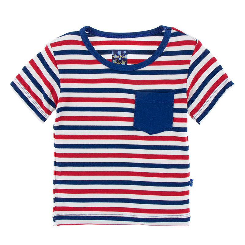 Short Sleeve Tee with Pocket in USA Stripe