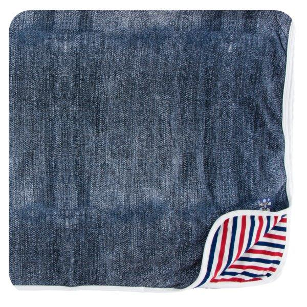 Bamboo Toddler Blanket in Denim - Pink and Brown Boutique