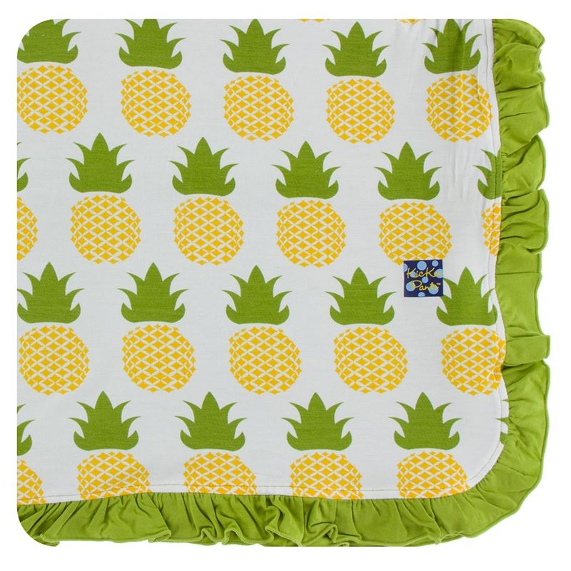 Bamboo Ruffle Toddler Blanket in Natural Pineapple