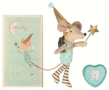 Tooth Fairy Mouse Boy w. Metal Tin - Pink and Brown Boutique