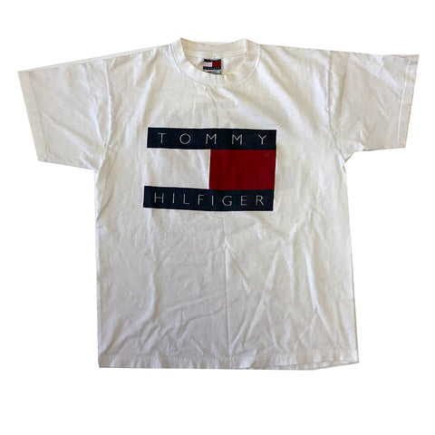 Vintage Tommy Hilfiger 2x Sided Flag Logo Tee (XL)