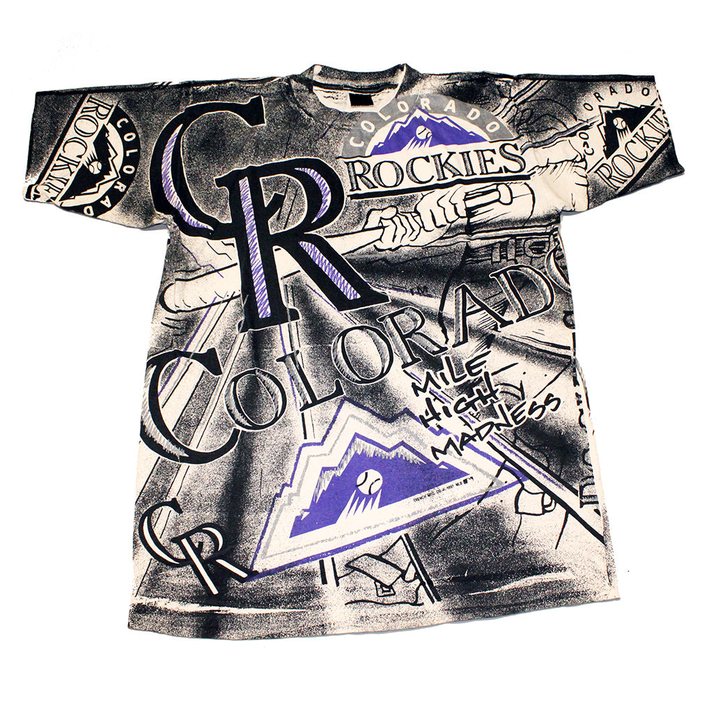 Vintage Colorado Rockies All Over Print Tee (L)