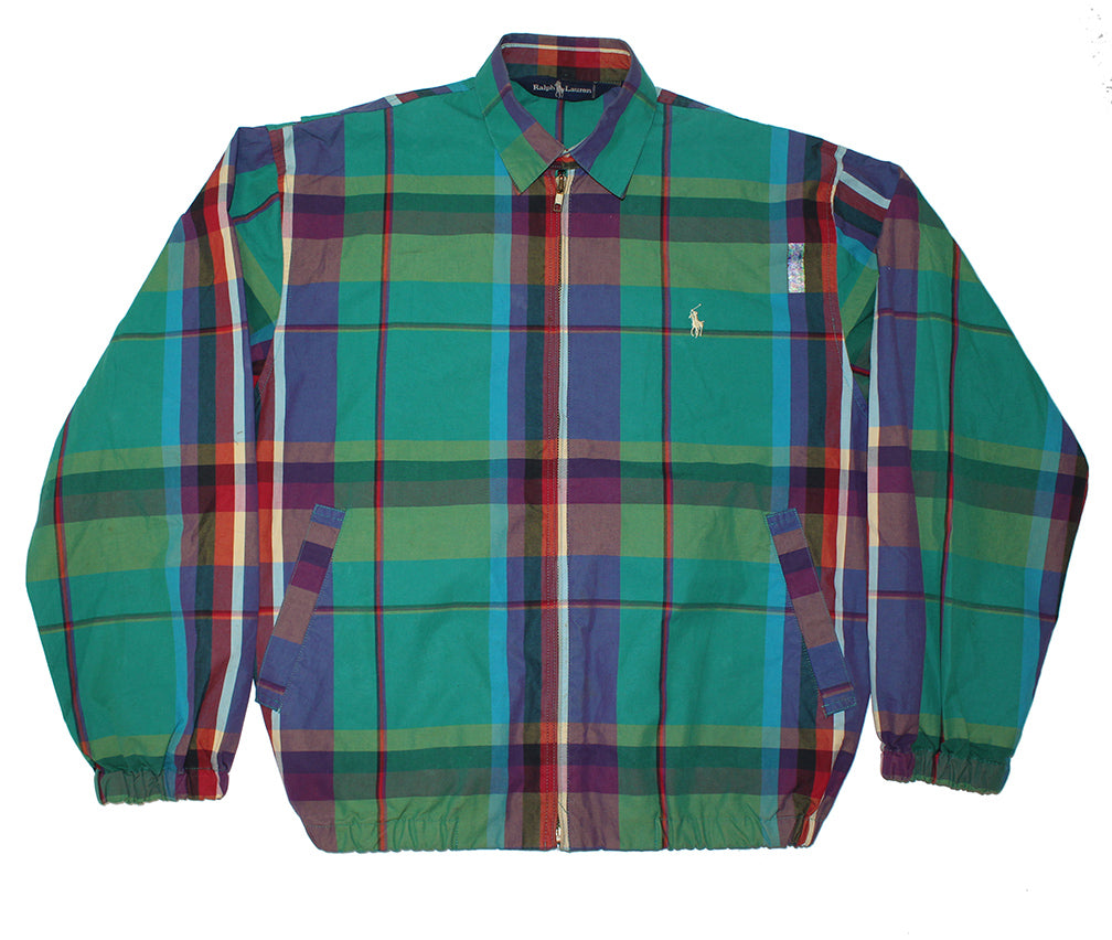 Polo Plaid Zip Up (M)