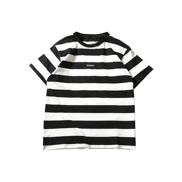 Station 'Striped' Tee Black