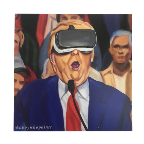 Donald Trump 'VR' Sticker 4x4 - @aboywhopaints