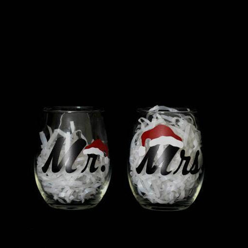 Mr. & Mrs. Christmas Glasses