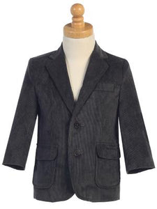 Big Boys Dark Gray TWO BUTTON CORDUROY EASTER BLAZER LITO 605 - Little N Kute Boutique
