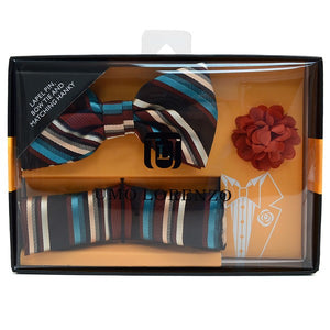 Men's  Bow Tie w/Matching Hanky & Lapel Pin Set - Little N Kute Boutique