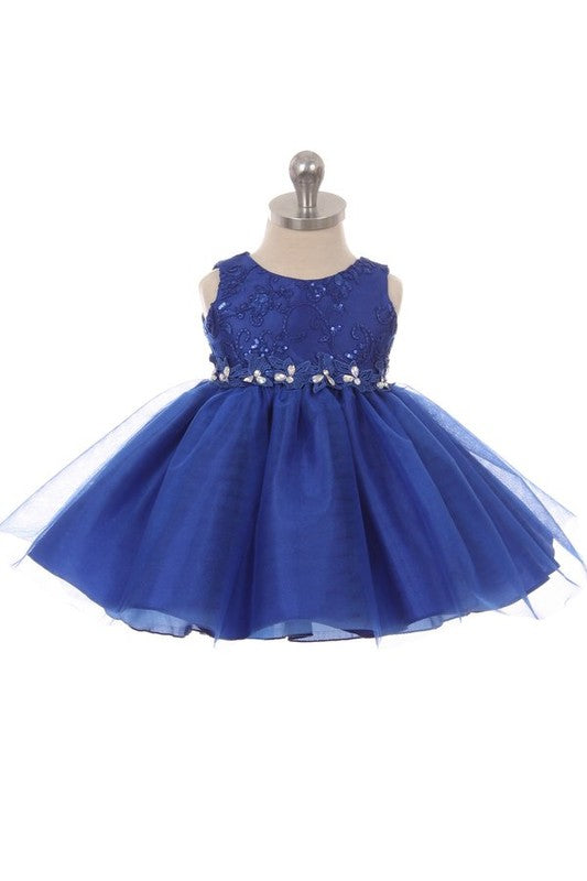 Royal Blue Baby Girl Dress - Little N Kute Boutique