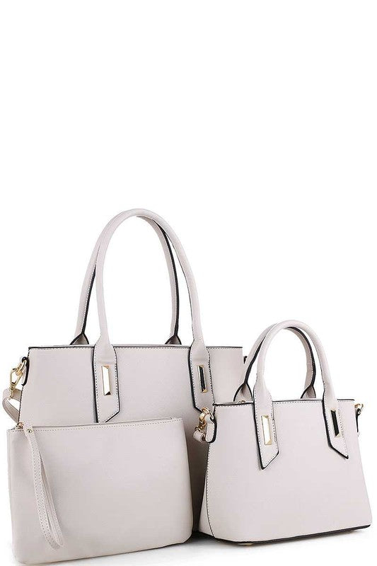 3-in 1 Trendy designer satchel set with long strap - Little N Kute Boutique