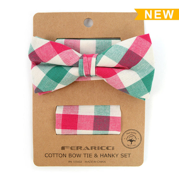 Men's Pink Green Plaid Cotton Bow Tie & Matching Pocket Square - Little N Kute Boutique