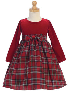 Red Plaid Christmas Dresses Size 3-24M - Little N Kute Boutique