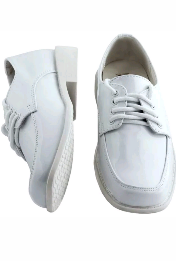 Boys White Shoes Patent Oxford  BS-001