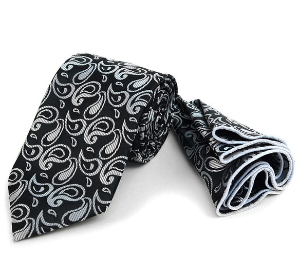 Men's Paisley Tie & Matching Pocket Round  Handkerchief /Hanky Set