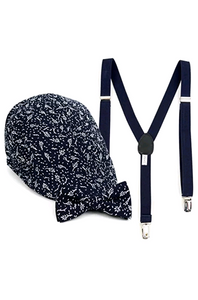 Boy's Navy Clip-on Bow Tie Suspender Floral Pattern,Matching Ivy Hat Set (4-7 Years - Little N Kute Boutique